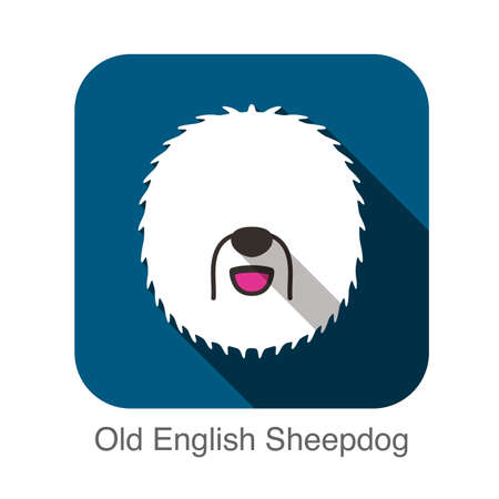 sheepdog: Old English Sheepdog face flat design