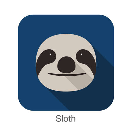 bradipo: Sloth cartoon face flat icon design