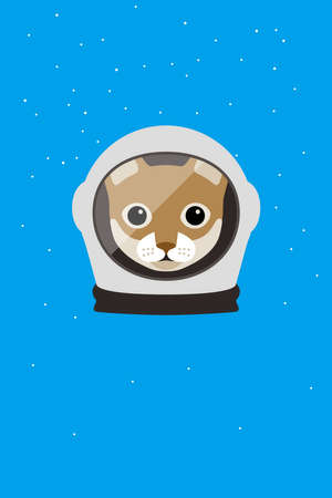 spacesuit: A cat wear spacesuit in the space Illustration