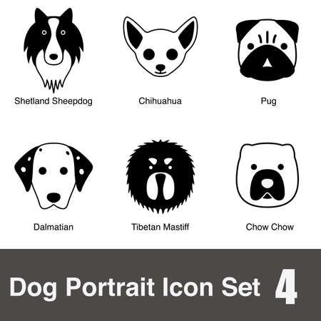 smile close up: Dog face character icon design series