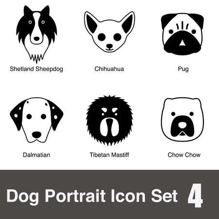 shetlander: Hond gezicht karakter design icoon serie
