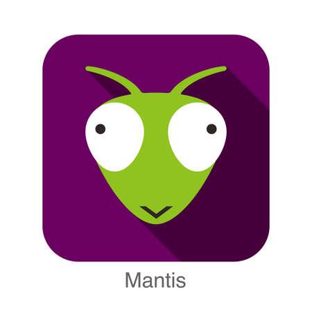 animal: Mantis animal face flat design