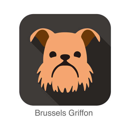 griffon: Brussels Griffon dog face flat icon Illustration