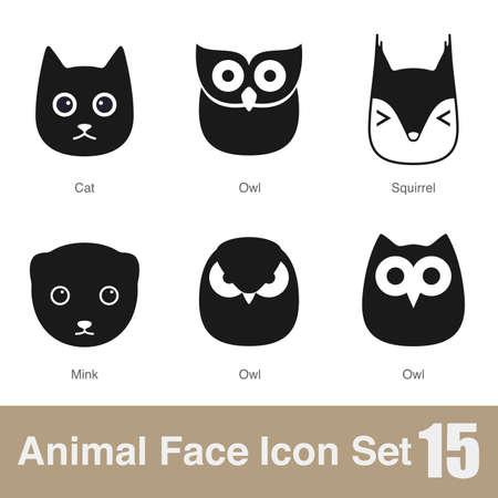 animal: Animal face flat icon Stock Illustratie