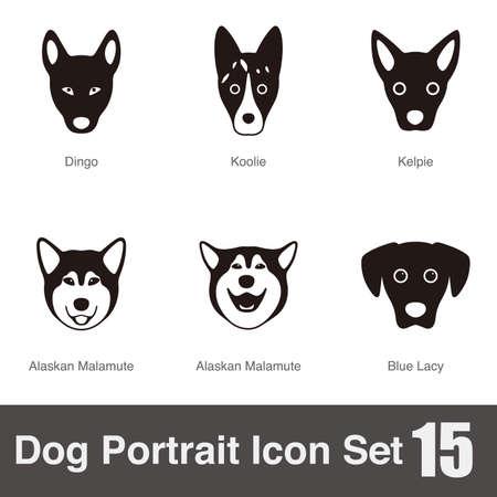 alaskabo: Dog face character icon design set
