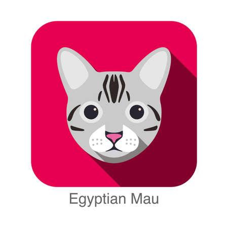 breed: Egyptian Cat breed face cartoon flat icon design