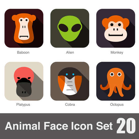 face to face: Animal face flat icon Illustration