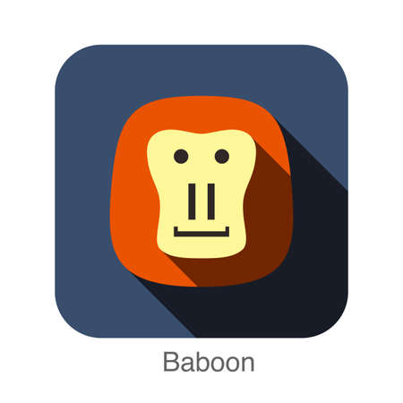 mandril: baboon flat icon design. Animal icons series. Vectores