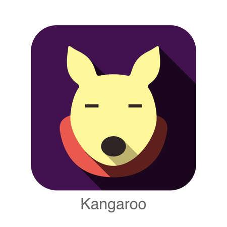 animal: Kangaroo animal face flat design