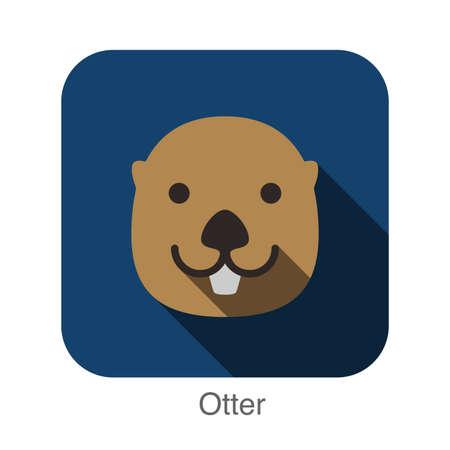 loutre: Otter animal face flat design