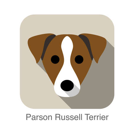 russell: parson russell terrier face flat icon Illustration