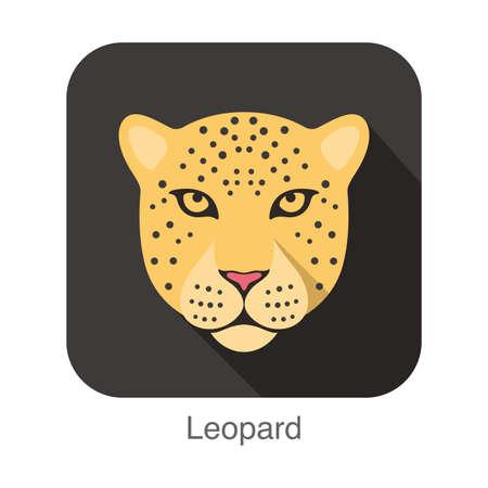 breed: Leopard cat breed face cartoon flat icon design