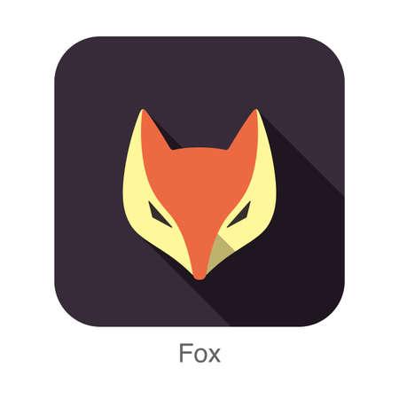 fox face: Fox face flat icon design Vectores