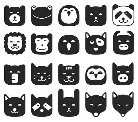 animal: Animal face flat icon Illustration