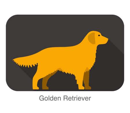 golden retriever puppy: Golden retriever walking flat 3D icon design