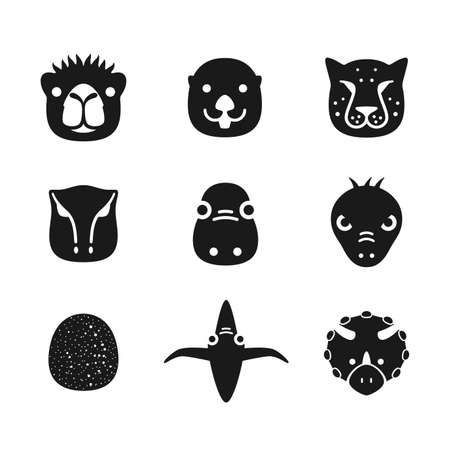 nutria caricatura: Animal face flat icon Vectores
