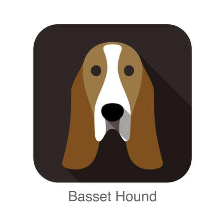 basset: basset hound face flat icon