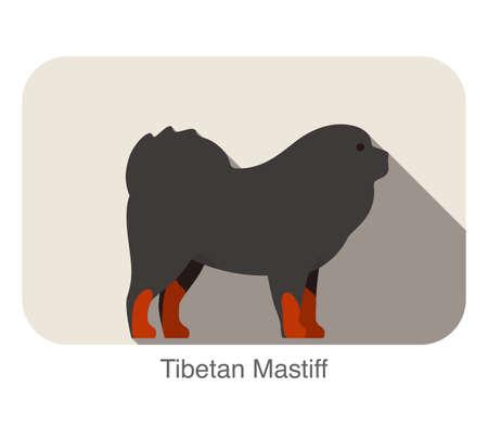 breed: Tibetan Mastiff dog breed flat icon design