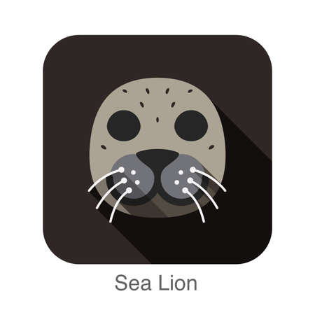 smile close up: Sea lion animal face flat design