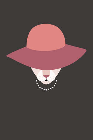 woman face close up: Elegant cat wear a hat and necklace Illustration