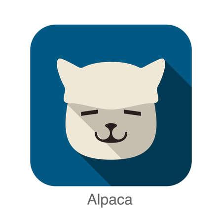 alpaca animal: Alpaca animal face icon