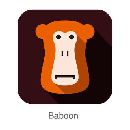 mandril: Baboon animal face icon Vectores