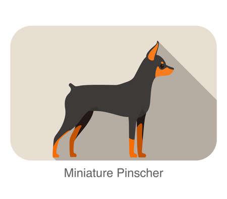 miniature breed: Raza pinscher miniatura icono plana de dise�o