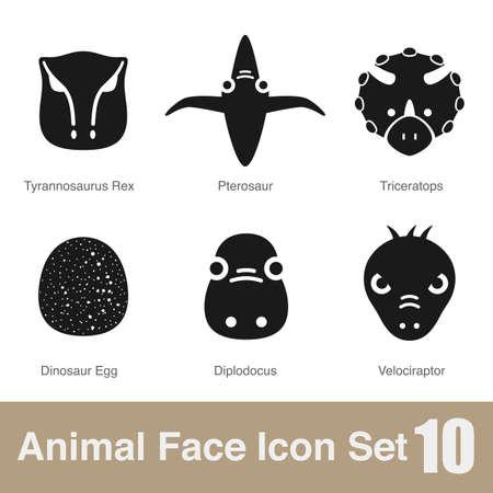 dinosaur egg: Animal face flat icon Illustration