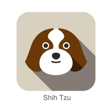 shih: Shih Tzu dog face flat icon