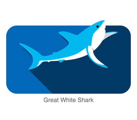 great white shark: Great white shark jumping flat icon design