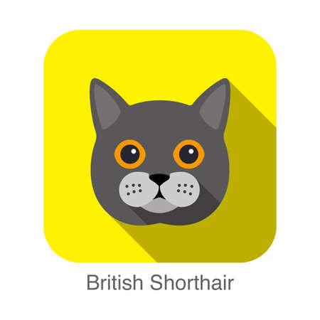 breed: British Shorthair Cat breed face cartoon flat icon design Illustration