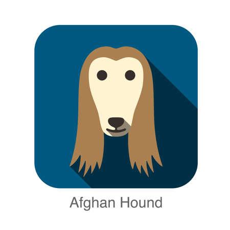 afghan: Afghan Hound animal face flat design Illustration