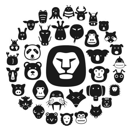pet  animal: Animal face flat character flat icon design