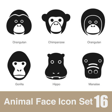 manatee: Animal face flat icon Illustration