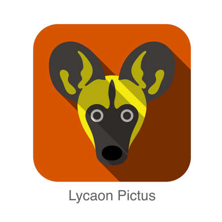 lycaon pictus: Lycaon Pictus dog face flat design Illustration