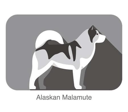 breed: Alskan Malamute dog breed flat icon design