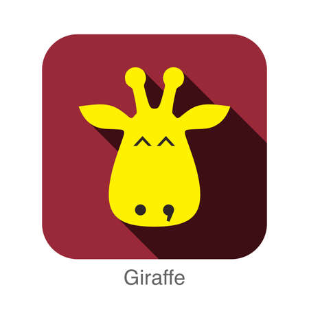 giraffe frame: giraffe face flat icon design. Animal icons series.