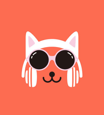 cat s: Cartoon Rabbit wearing a Cat s headset and glasses Illustration