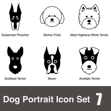 airedale terrier: Dog face character icon design series