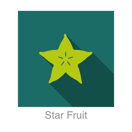 별: Star Fruit flat icon  일러스트