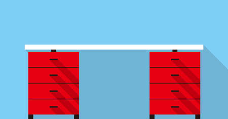 front desk: Single Desk with drawer flat icon design