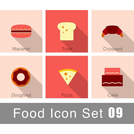 macaron:  cake, macaron, bread icon set