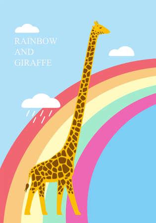 rainbow: Giraffe standing on the raibow, illustration vector