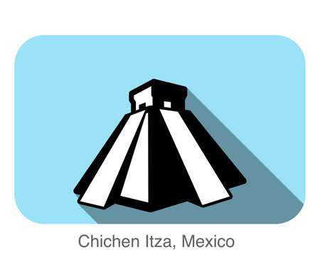 chichen itza: Chichen Itza, Mexico, landmark flat icon
