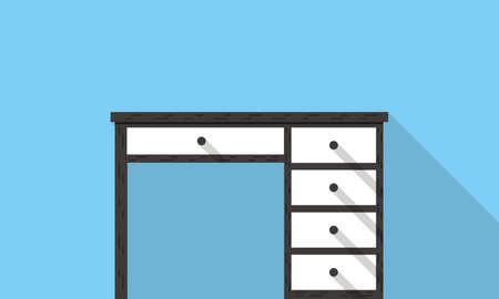 front desk: Single Desk with drawer flat icon design Illustration