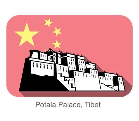 lamaism: Potala Palace. Background is Chinese national flag Illustration