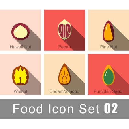 macadamia: Nature Nuts flat icon design