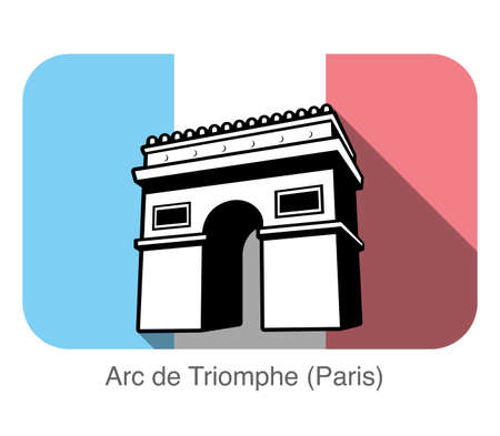 french flag: Arc De Triomphe landmark flat icon in front, The background is French national flag Illustration