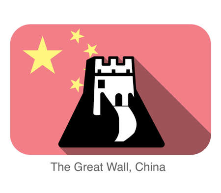 great wall of china: The Great Wall, China, landmark flat icon design, background is chinese national flag Illustration