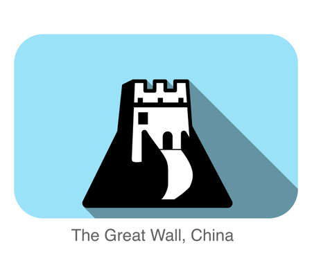 great wall of china: The Great Wall, China, landmark flat icon design